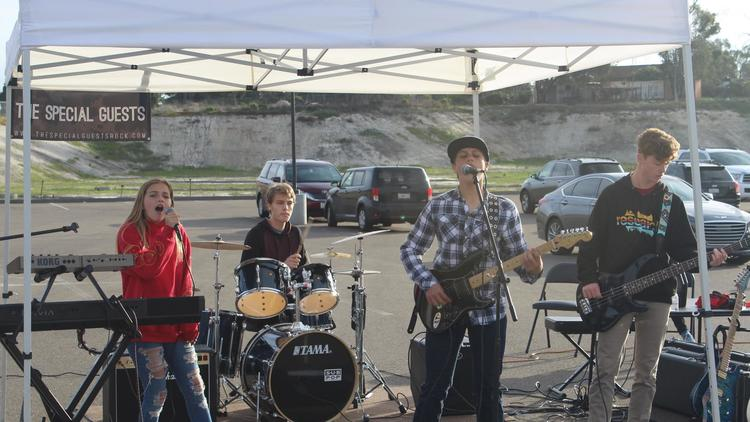 A Rock Band of High-School Students Performed