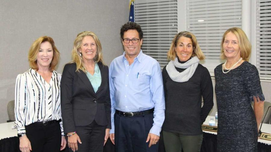 The Solana Beach School District board: Vicki King, President Julie Union, Vice President Rich Leib, new board member Gaylin Allbaugh and Clerk Debra Schade. (Courtesy)