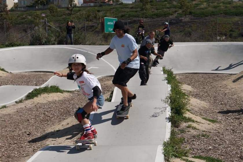 JoJo Yarbrough leads the way for Colin Cruise, Steve Caballero, Blake Sterger, and her dad Danny Yarbrough at the March 7 Skate Against ALS at the PHR pump track. (Mick Yarbrough )